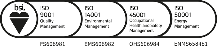 Yesss Electrical hold BSI accreditations ISO 9001(Quality Management), ISO 14001 (Environmental Management), ISO 45001 (Occupational Health and Safety Management) and ISO 50001 (Energy Management)