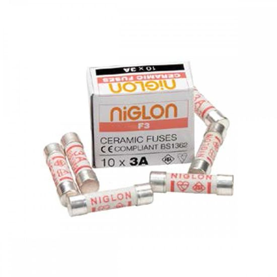 Picture of 3A Ceramic Cartridge Fuse 25.4mm x 6.3mm [Pack of 10]