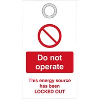 Show details for  Lockout Tag with eyelet - Do not operate (Double Sided)