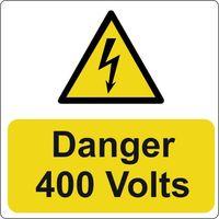 Show details for  Danger 400 Volts Label - (Pack of 5 PVC) 75 x 75mm