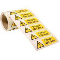 Show details for  Danger 400 Volts Label - (250 Roll SAV) 75 x 25mm