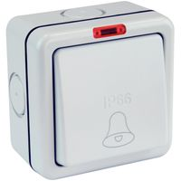 Show details for  Monsoon 10A IP66 1 Gang Weatherproof Retractive Bell Switch with Neon - Grey