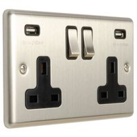 Show details for  13A 2 Gang Switched Socket with USB - Satin Stainless/Black