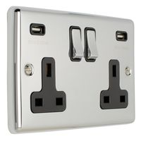 Show details for  13A 2 Gang Switched Socket with USB - Polished Chrome/Black