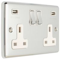 Show details for  13A 2 Gang Switched Socket with USB - Polished Chrome/White