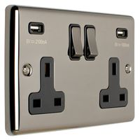 Show details for  13A 2 Gang Switched Socket with USB - Black Nickel/Black
