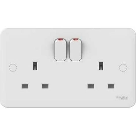 Picture of Lisse 13A 2 Gang DP Switched Socket - White