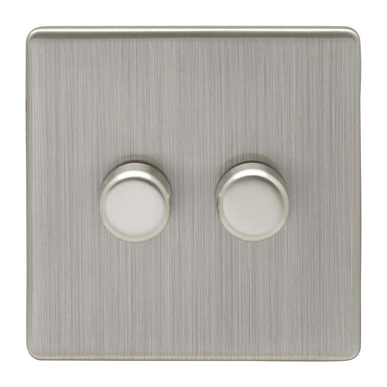 Picture of Concealed Satin Nickel 2 gang LED dimmer with black trims