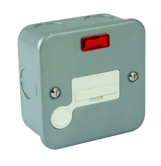 Picture of Metal Clad 1 Gang 13A Unswitched Fused Spur c/w Neon & Flex Outlet - White Insert & Rocker