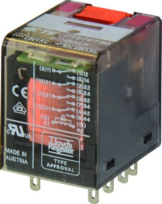 Picture of 14 Pin Relay Push Button & LED, 4 Pole CO, 6A 24VDC
