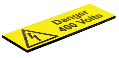 Picture of Danger 400 Volts Label - (Pack of 5 Engraved) 75 x 25mm