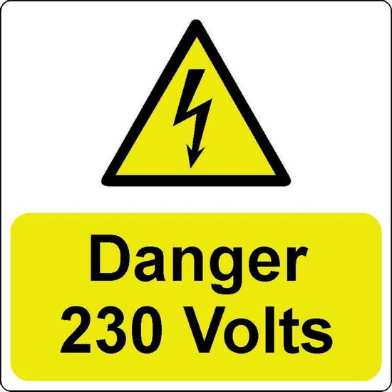 Picture of Danger 230 Volts Label - (Pack of 5 PVC) 75 x 75mm