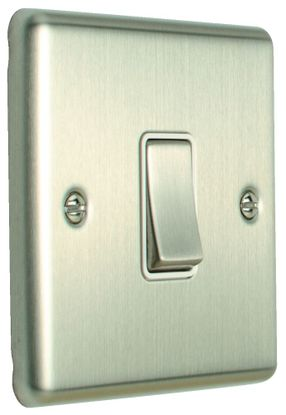 Picture of 10A 1 Gang 2 Way Switch - Satin Stainless/White