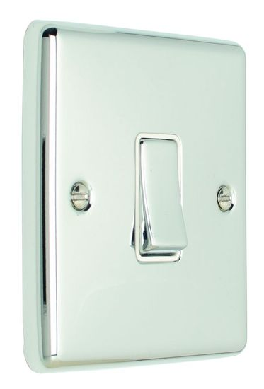Picture of 10A 2 Gang 2 Way Switch - Polished Stainless/White