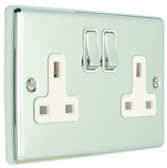 Picture of 13A 2 Gang DP Switched Socket - Polished Chrome/White