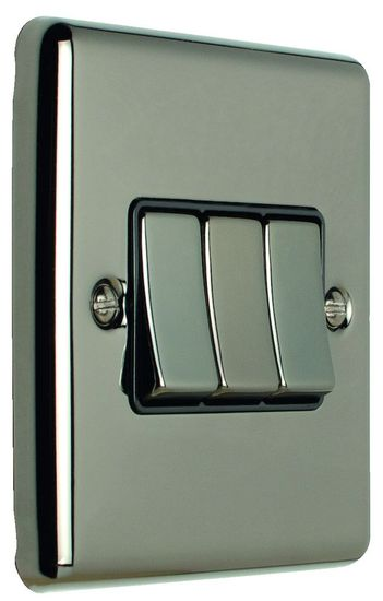 Picture of 10A 3 Gang 2 Way Switch - Black Nickel/Black