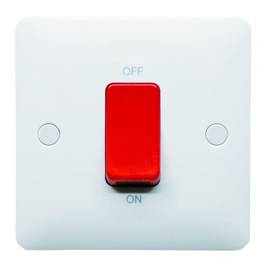 Picture of 1 Gang 45A DP Switch Red Rocker White
