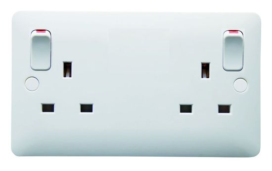 Picture of 2 Gang 13A DP Switched Socket White With Outboard Rocker