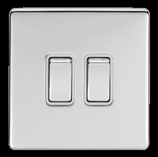Picture of 10A 2 Gang 2 Way Switch - Polished Chrome/White