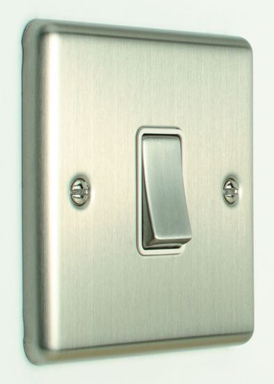 Picture of 20A 1 Gang DP Switch - Satin Stainless/White