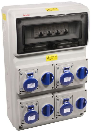 Picture of 18th Edtion Caravan hook up 4 x 16a 3P outlet 4 x 16A RCBO 30ma DP 4 x MID approved Meter