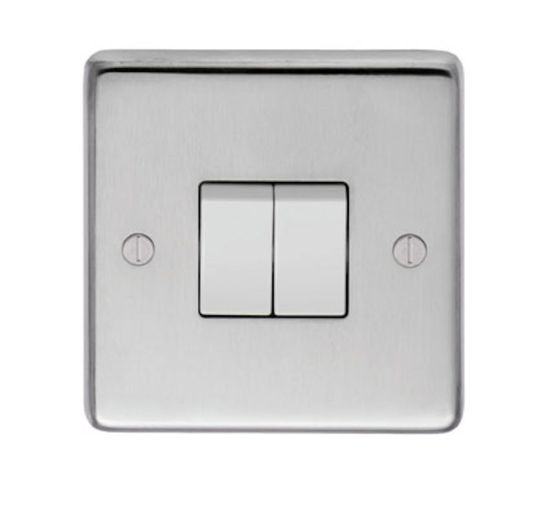 Picture of 10A 2 Gang 2 Way Switch - Satin Stainless/White